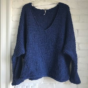 Free People Royal Blue Chunky Crochet Sweater